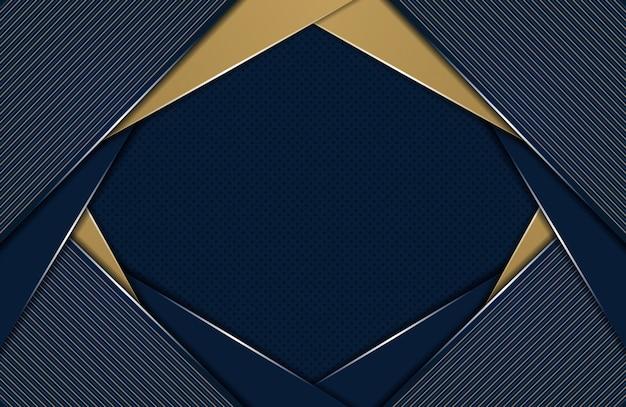 Abstracte blauwe overlappingslaag en gouden veelhoekige achtergrond