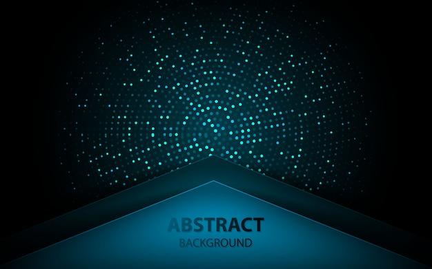 Abstracte blauwe pijl op donkere achtergrond met glitters