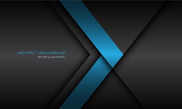 Abstracte blauwe pijl richting donkergrijze schaduwlijn op lege achtergrond.