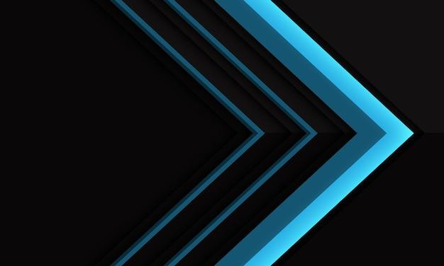 Abstracte blauwe pijlrichting op zwarte metalleschaduw met lege ruimteillustratie als achtergrond.