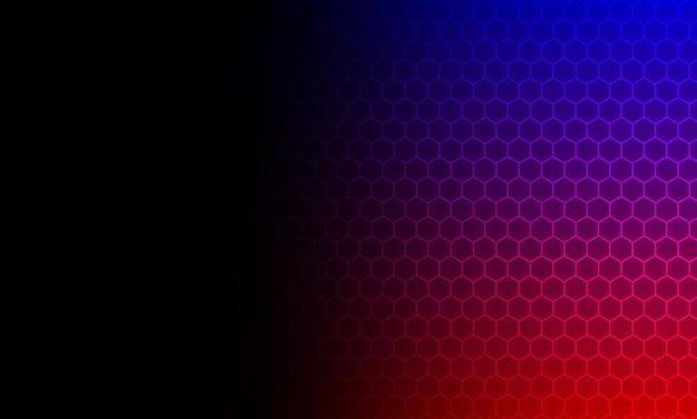 Abstracte blauwe, rode en zwarte gradiënt zeshoekige technische achtergrond. ontwerp voor behang.