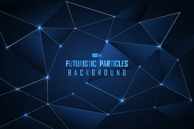 Abstracte blauwe stip futuristische deeltjes achtergrond.