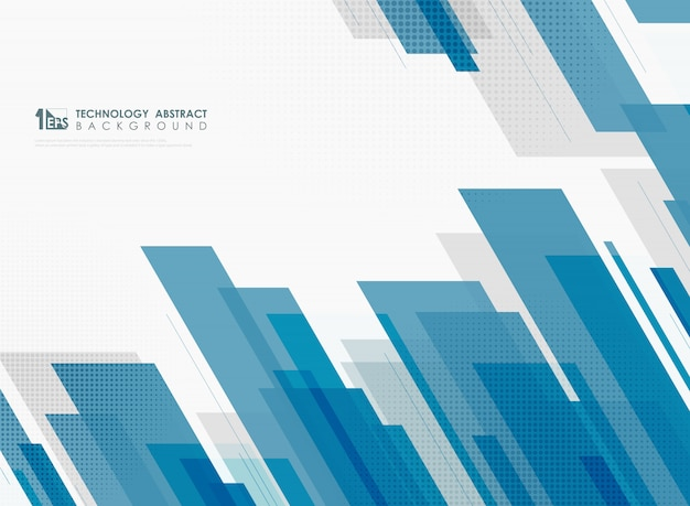 Abstracte blauwe tech-sjabloonontwerpdecoratie met halftone achtergrond.