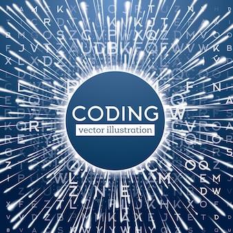 Abstracte blauwe technische achtergrond met verschillende letters en warp-snelheidseffect.
