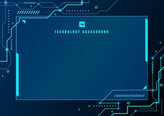 Abstracte blauwe technologie geometrische elektronische circuit achtergrond