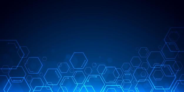 Abstracte blauwe technologie zeshoek achtergrond met kopie ruimte