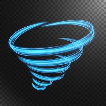 Abstracte blauwe tornadolijn van licht