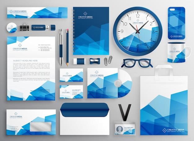 Abstracte blauwe zakelijke briefpapier instellen voor uw merkidentiteit