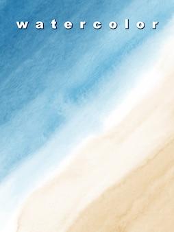 Abstracte blauwe zee en strand als achtergrond met de borstels van de waterverftextuur. vlek artistiek