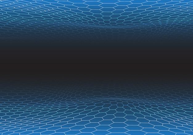 Abstracte blauwe zeshoekige maasgolf op zwarte technologie.