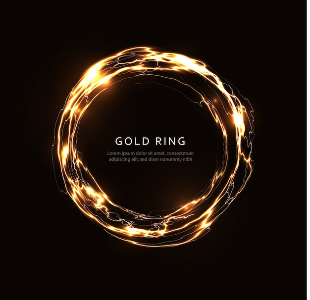 Abstracte bliksemring met gouden glans, gloeiende fantasieschijf, gouden magische cirkel, energiebal, rond roterend kadermalplaatje voor vlieger, banner en affiche, geïsoleerde grafische illustratie