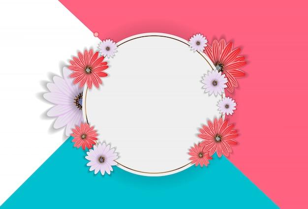 Abstracte bloem realistische vectorframe achtergrond