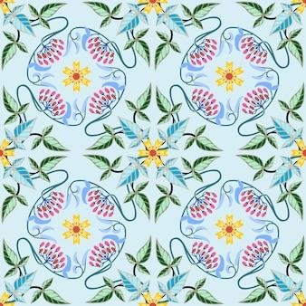 Abstracte bloemen en blad naadloze patroonachtergrond.