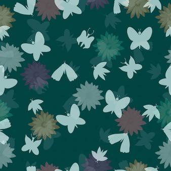 Abstracte bloemen en vlinder naadloos patroon