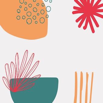 Abstracte bloemen memphis achtergrond in retro kleur