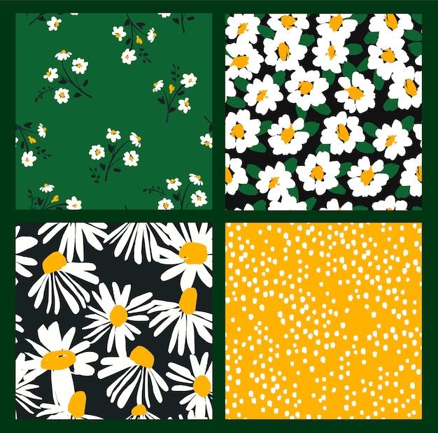 Abstracte bloemen naadloze patronen met kamille. trendy handgetekende texturen.