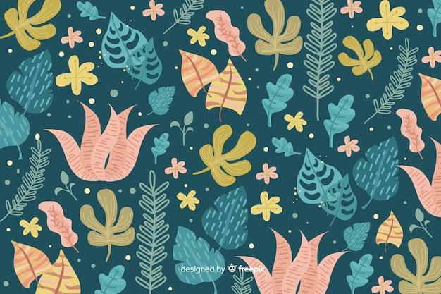 Abstracte bloemenachtergrond in hand-drawn ontwerp