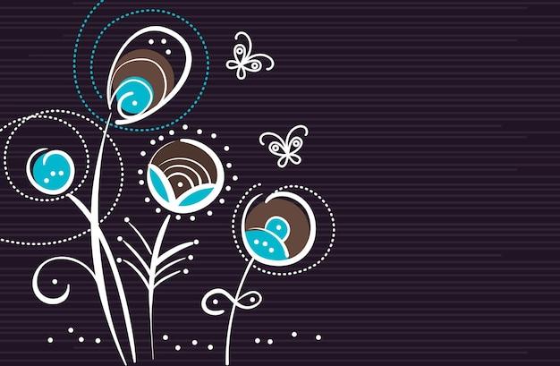 Abstracte bloemenachtergrond met cartoonvlinders