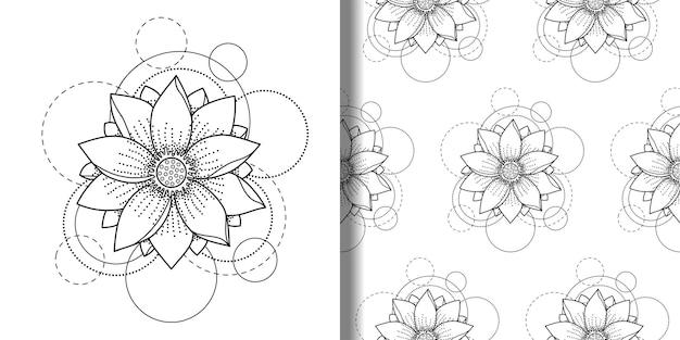 Abstracte bloemenprint en naadloos patroon met lotuscirkels voor tatoeages op t-shirts van textiel