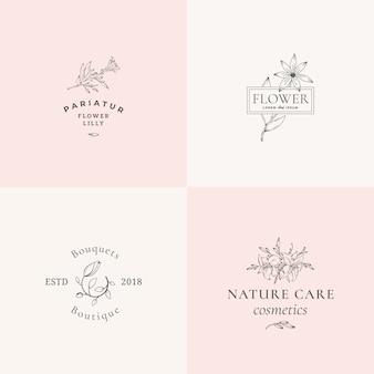 Abstracte bloementekens of logo sjablonen instellen. retro vrouwelijke illustratie met stijlvolle typografie. premium bloememblemen voor schoonheidssalon, spa, bruiloftsboetieks, verzorgingscosmetica, enz.