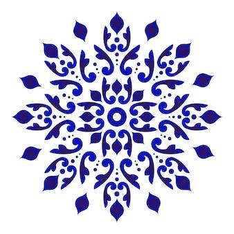 Abstracte bloemmandala, blauw en wit bloemenornament voor ontwerp