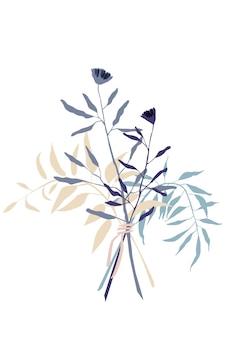 Abstracte boeket bloemen en takken poster abstracte botanische illustratie voorraad vector afbeelding