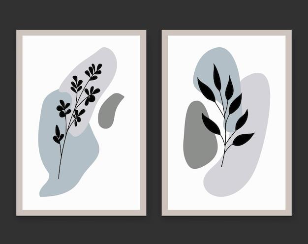 Abstracte boho bloem bladeren silhouet kunst