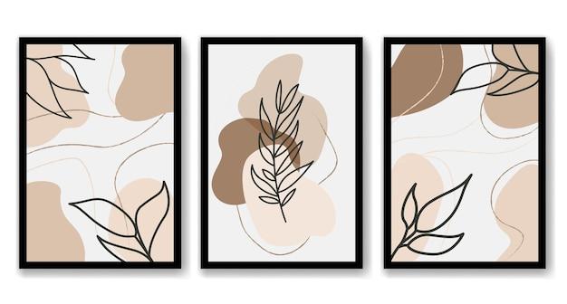 Abstracte boho bloemen hand tekenen lijn kunst vector bladeren achtergrond