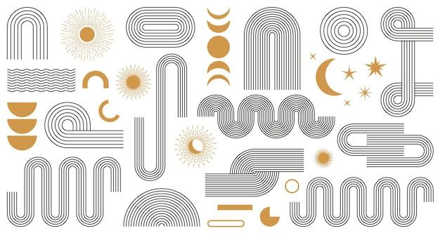 Abstracte boho esthetische geometrische vorm set met maan
