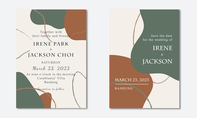 Abstracte boho minimalistische bruiloft uitnodiging kaartsjabloon Premium Vector