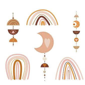 Abstracte boho regenboog minimalistische boog en hangende drop kinderkamer en babykamer voorraad modern trendy