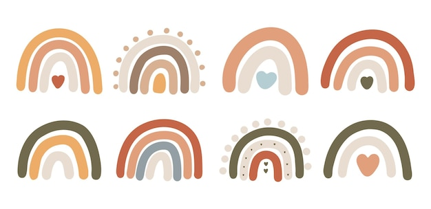 Abstracte boho regenboog ontwerp illustratie