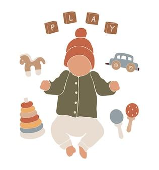 Abstracte boho, schattige babysilhouet, baby boho portret, abstract silhouet babymeisje, kwekerij, abstracte kinderen illustratie, boho kind ontwerp, illustratie