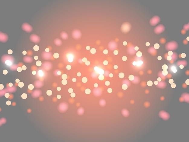 Abstracte bokeh achtergrond. vage heldere abstracte bokeh op grijze en oranje achtergrond. vakantie gloeiende gekleurde lichten met fonkelingen. feestelijke intreepupil lichten.