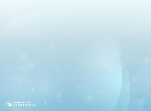 Abstracte bokeh blauwe achtergrond met het onduidelijke beeld van de technologielijn.