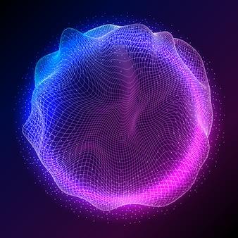 Abstracte bol met vloeiende deeltjes