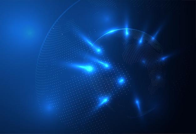 Abstracte bolvorm van gloeiende cirkels en deeltjes. wereldwijde visualisatie van netwerkverbindingen. wetenschap en technologie achtergrond.