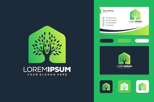 Abstracte boom en huis logo ontwerp visitekaartje