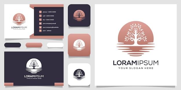Abstracte boom logo ontwerp visitekaartje