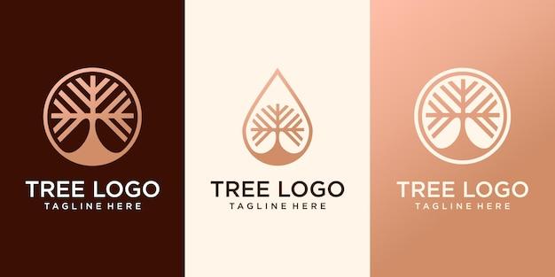 Abstracte boom met takje vector logo pictogrammalplaatje, elegante en luxe concept vectorillustratie