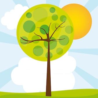 Abstracte boom over groene landschap vectorillustratie
