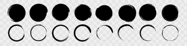 Abstracte borstel cirkel getrokken, zwarte grafische elementen voor productontwerp, banners en knoppen