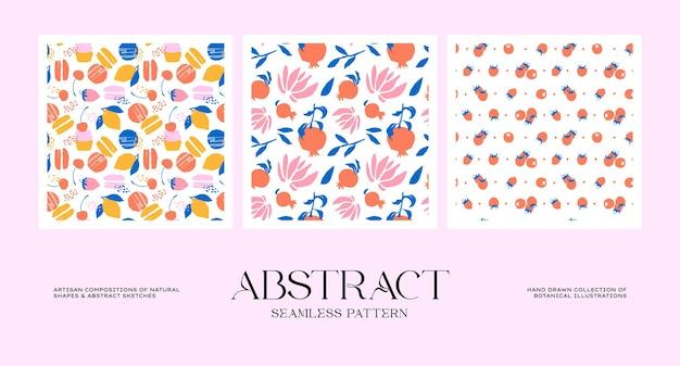 Abstracte botanische naadloze patrooncollectie die past bij uw merkidentiteit, ons verpakkingsontwerp