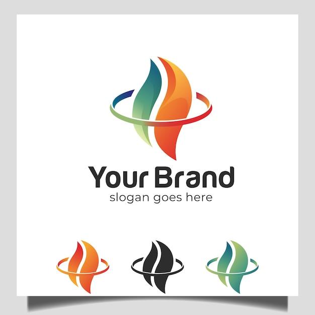 Abstracte brandende vuurvorm in vlamvorm logo-ontwerp