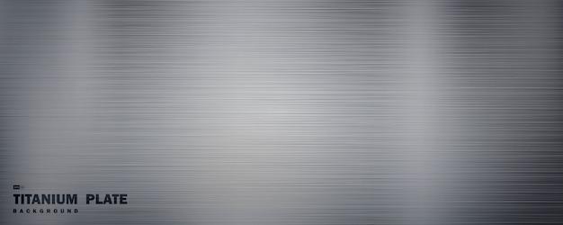 Abstracte brede massief zilveren titanium plaat materiaal met grunge lijn patroon decoratieve achtergrond.
