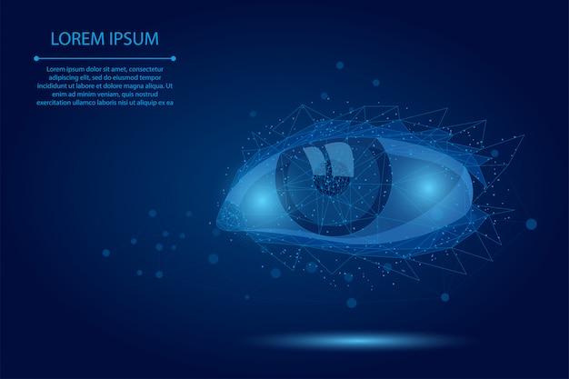 Abstracte brijlijn en puntlasercorrectie. laag poly menselijke iris moderne operatie chirurgie technologie