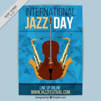 Abstracte brochure met muziekinstrumenten voor jazz