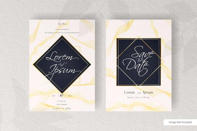 Abstracte bruiloft uitnodiging kaartsjabloon met elegante aquarel decoratie