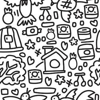 Abstracte cartoon doodle patroon ontwerpsjabloon