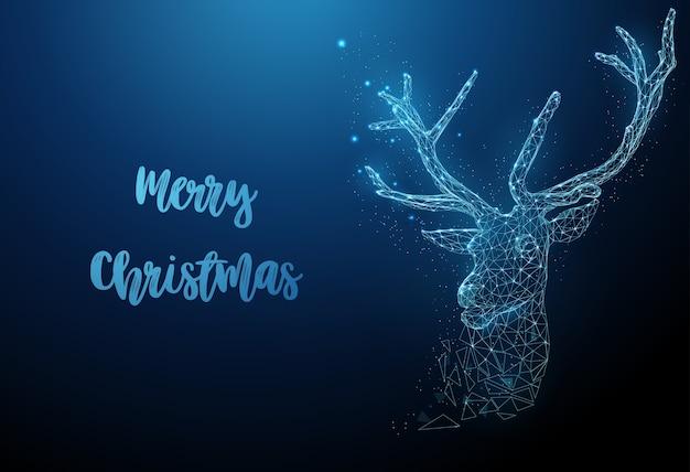 Abstracte chtistmas-herten. magische kerst wenskaart. laag poly-stijl ontwerp. vrolijke kerstkaart. moderne 3d grafische geometrische achtergrond. lichte verbindingsstructuur van draadframe.